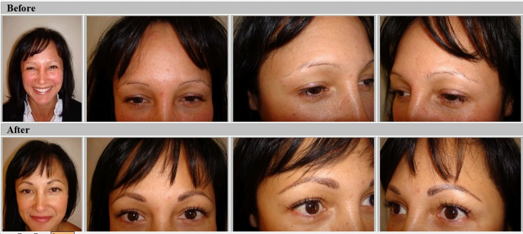 Eyebrow and lashes, before and after